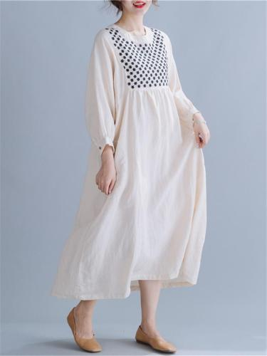 Round Neck Buttoned Cuff Long Sleeve Pocket Embroidered Cotton Linen Dress