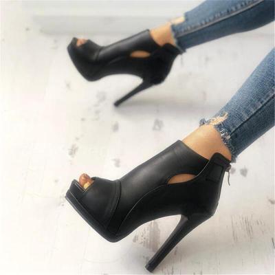 Stylish Peep Toe Platform Back Zipper Stilettos High Heels