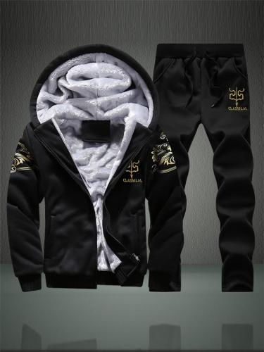 Winter Mens Sport Suit Thicken Flocking Hooded Outerwear & Trouser