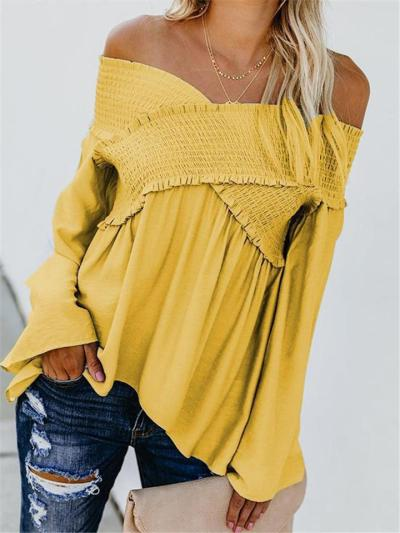 Loose Fit Off Shoulder Long Sleeve Solid Color Pleated Pullover Tops