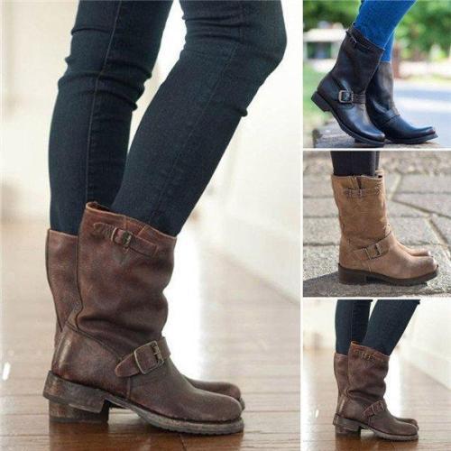 Plus Size Adjustable Buckle Block Heel Riding Boots