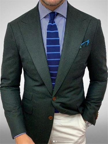 Men Casual Pure Color Patch Pockets Business Blazer