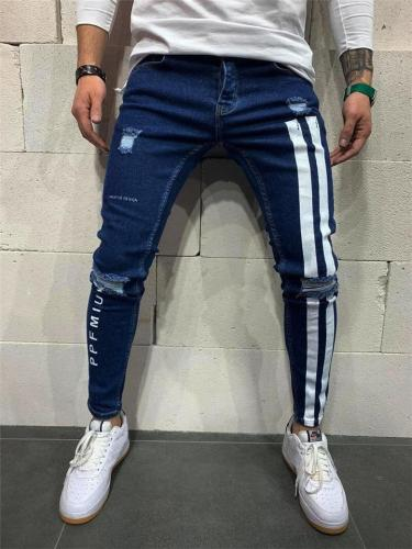 Slim Fit Elastic Cuff Pocket Ripped Denim Pants