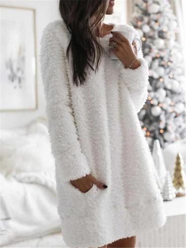 Ultra Warm White Round Neck Fur Midi Dress