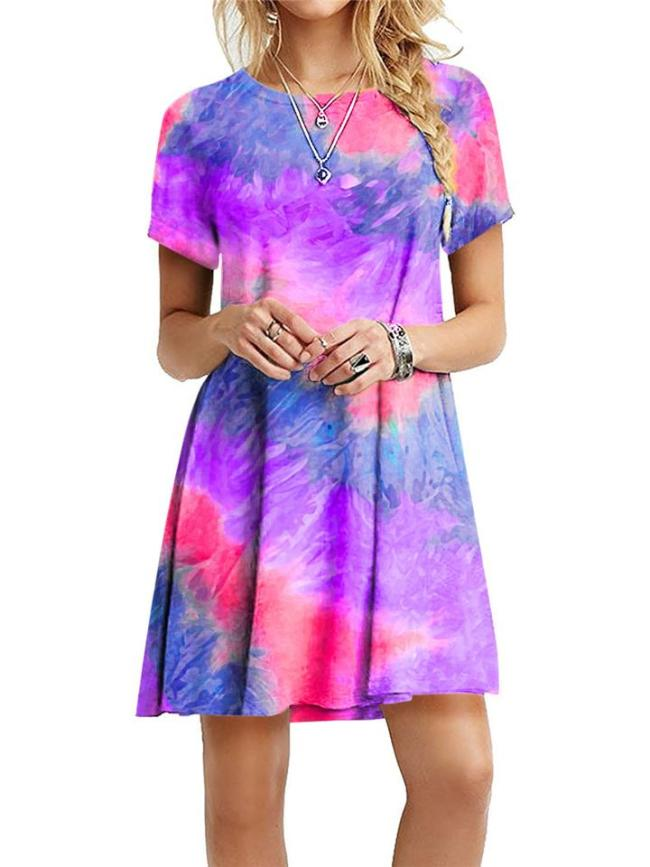 Relaxed Fit Round Neck Tie-Dye Short Sleeve Pullover Dress