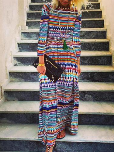 Stylish Round Neck Long Sleeve Loose Fit Multicolor Maxi Dress