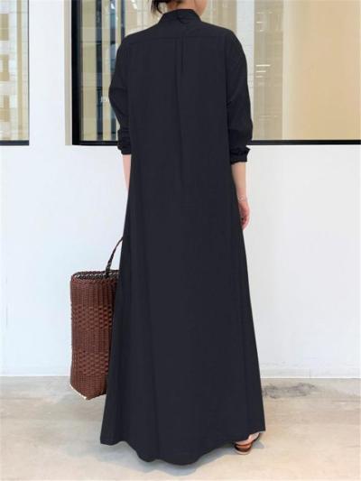 Minimalist Lapel Collar Long Sleeve Pocket Maxi Shirt Dress