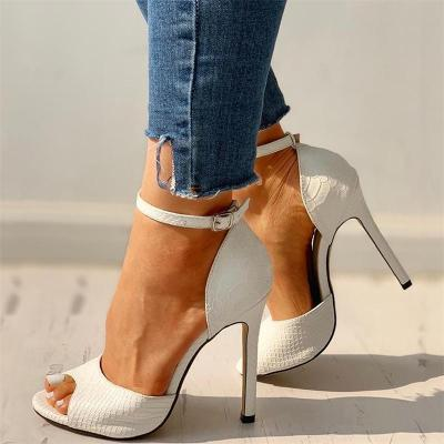 Sexy Pretty Peep Toe Ankle Strap Snake Pattern Spike Heels Sandals