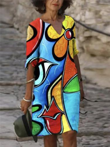 Casual Style V Neck Abstract Painting Printed Midi Length Dress