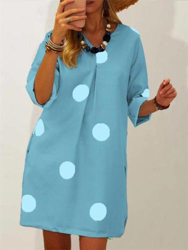 Casual Wide Fit Polka Dot Midi Dress