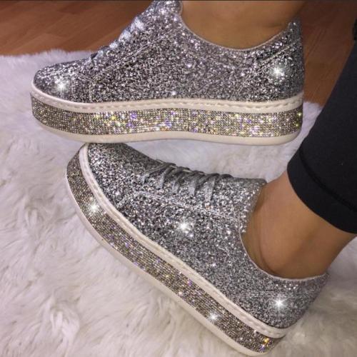 Women's Cute Shinning Crystal Flat Heel Shoes