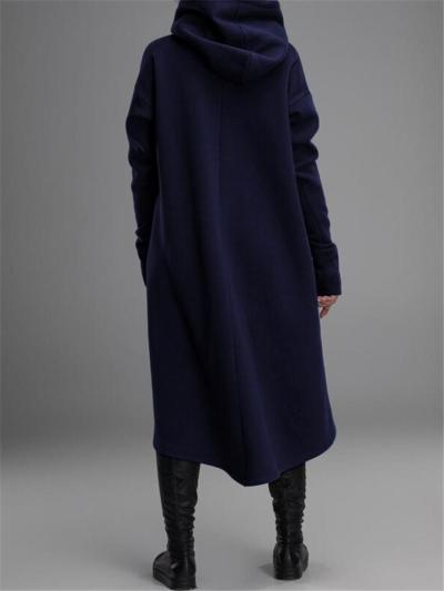 Cozy Warm Long Sleeve Pullover Asymmetric Design Drawstring Hooded Sweatshirt