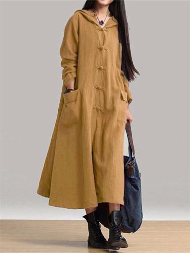 Comfortable Oversized Button Up Pocket Linen Hooded Dress