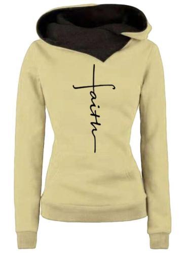 Cozy Warm Letter Printed Long Sleeve Hooded Sweatshirt