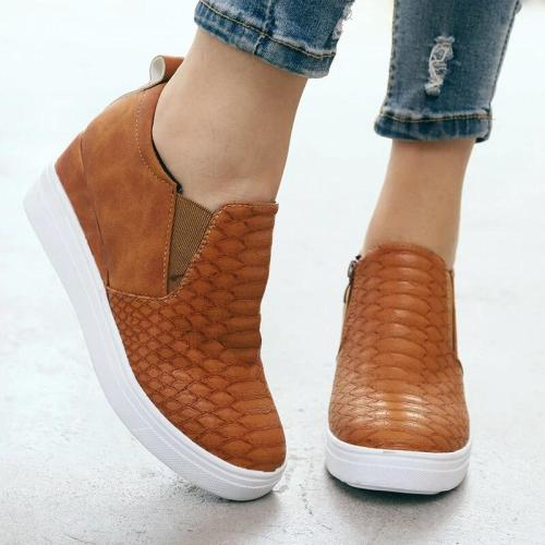 Comfortable Side Zipper Round Toe Durable Wedge Bottom Shoes