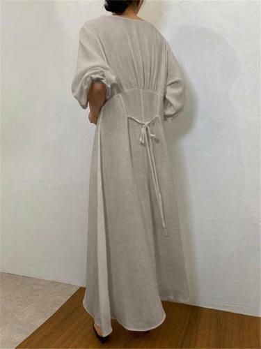 Oversized Round Neck Elastic Cuff Long Sleeve Back Tie Maxi Dress
