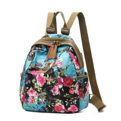 Beautiful Flower Pattern Nylon Backpack For Women