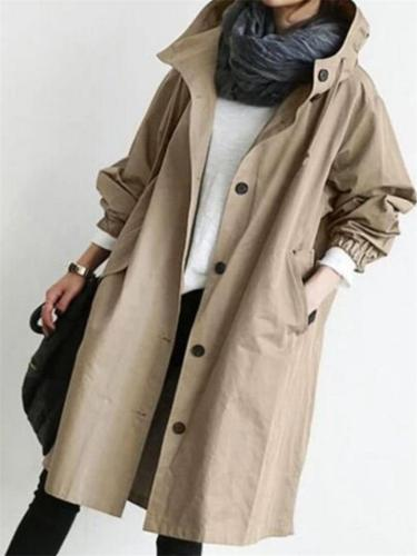 Autumn Womens Casual Solid Color Long Sleeve Button Wind Coat