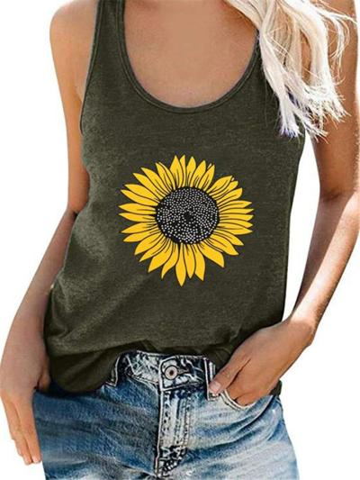 Casual Fit Sunflower Scoop Neck Sleeveless Tank Top