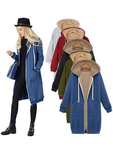 Ultra Warm Solid Color Full Zipper Fur Lining Drawstring Hooded Pocket Coat