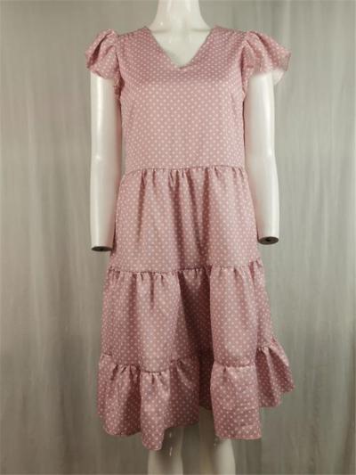 Pretty V Neck Ruffled Pleated Polka Dot Cap Sleeve Flare Midi Dress