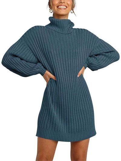 Casual Fit Turtleneck Ribbed Knit Midi Pullover Sweater Dress