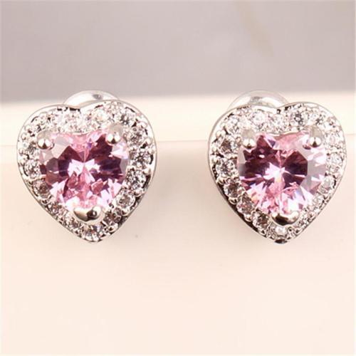 Sublime Heart Shape Zircon Silver Stud Earrings