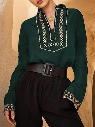 Green Embroidered V Neck Long Sleeve Chic Boho Top
