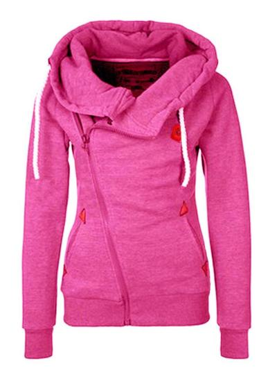 Casual Style Long Sleeve Solid Color Zipper Drawstring Hooded Sweatshirt
