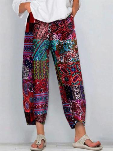 Casual Plus Size Vintage Ethnic Style Floral Print  Pants