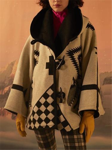 Women's Long Sleeve Fashion Printed Hoodie Woolen OverCoat