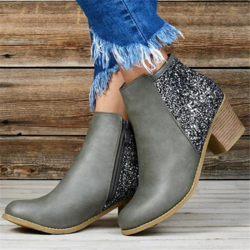 Trendy Chunky Mid Heel Side Zipper Sequined Short Boots