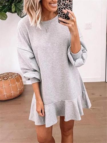 Casual Fit Round Neck Long Sleeve Ruffle Hem Pullover Dress