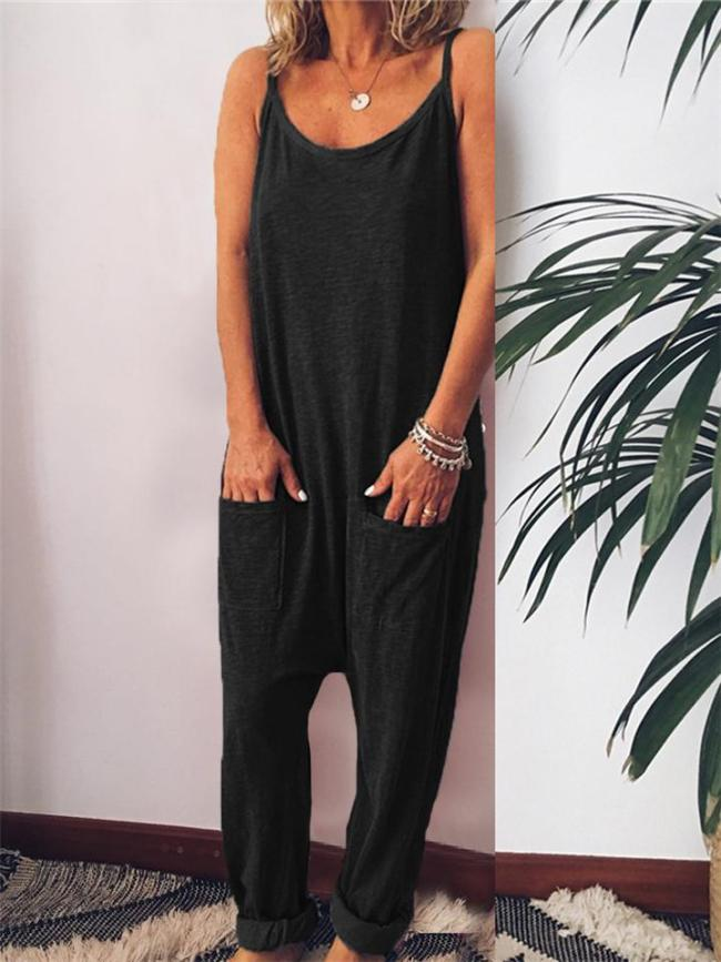 Loose Fit Scoop Neck Spaghetti Strap Solid Color Pocket Jumpsuit