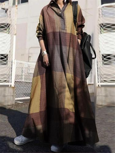 Vintage Style Oversized Button Up Lapel Collar Plaid Long Sleeve Maxi Dress