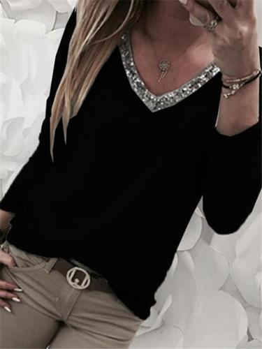 Casual Style V Neck Sequined Long Sleeve Pullover Tops