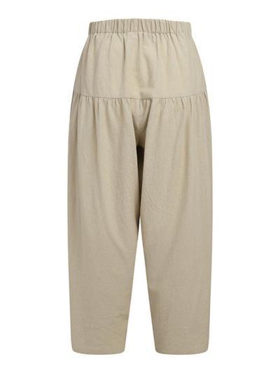 Vintage Style Elastic Waist Drawstring Cotton Linen Wide Leg Harem Pants