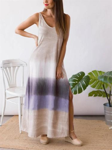 Sexy Fashion Gradient V Neck Sleeveless Side Slit Contrasting Maxi Dress