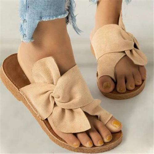 Casual Style Lightweight Toe-Ring Front Bowknot Flat Sandals Slippers