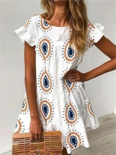 Bohemian Style Water Drop Ruffle Short Sleeve Flare Mini Dress