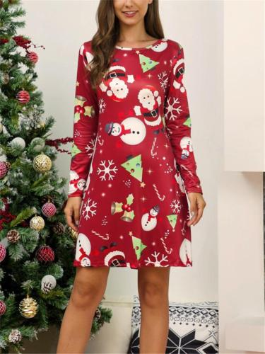 Stylish Christmas Printed Round Neck Long Sleeve Pullover Dress