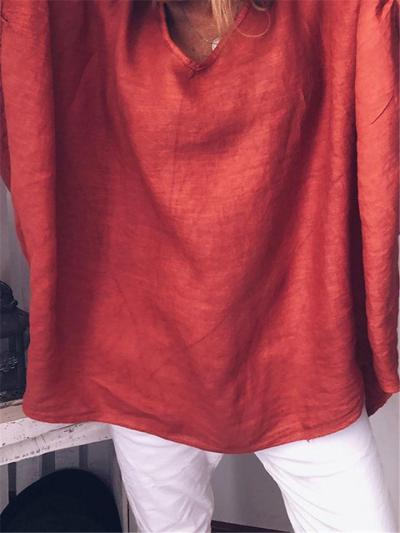 Oversized Round Neck Solid Color Long Sleeve Cotton Linen Tops