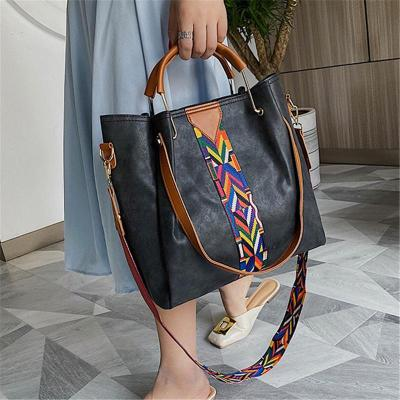 Minimalist Leather Dual Top Handle Colorblock Woven Stitching Crossbody Bag