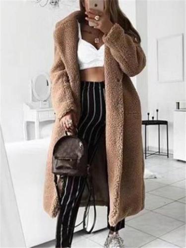 Extra Warm Solid Color Thicken Fleece Plush Long Coat