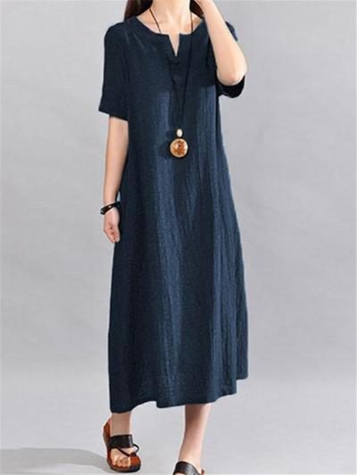 Relaxed Fit Notched Neck Short Sleeve Cotton Linen Maxi Dress