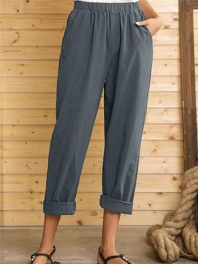 Casual Style High-Rise Elastic Waist Solid Color Pocket Pants