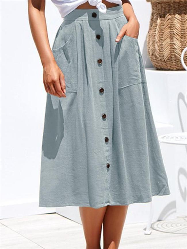 Casual Style Elastic Waistband Button Deco Pocket Midi Skirt