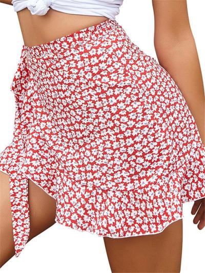 Sexy Pretty Ruffled Detailing Asymmetric Hem Geometric-Pattern Mini Skirt
