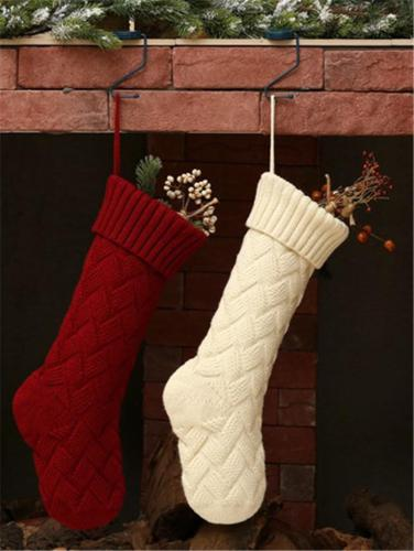 Christmas Themed Knitted Hanging Stockings for Gifts and Candies