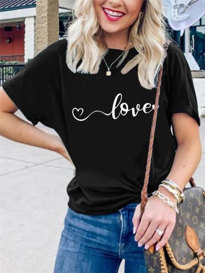 Relaxed Fit Crew Neck Front Printed Short Sleeve T-Shirt